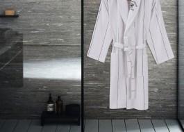 Beverly Hills Polo Club, Halat de baie unisex bumbac, marime L/XL, alb, dungi albastru inchis
