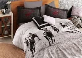 Beverly Hills Polo Club- Lenjerie pat dublu, bumbac 100% ranforce, cod 020 - Black