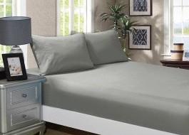Cearceaf de pat cu elastic si 2 fete perna, bumbac 100%, 140x200cm, Gri, Majoli by Bahar Tekstil