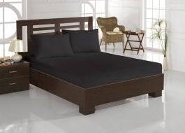Cearceaf de pat cu elastic si 2 fete perna, bumbac 100%, 140x200cm, Negru, Majoli by Bahar Tekstil