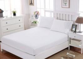 Cearceaf de pat cu elastic si 2 fete de perna, bumbac 100%, 180x200cm, Alb, Majoli by Bahar Tekstil