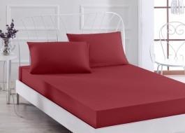 Cearceaf de pat cu elastic si 2 fete de perna, bumbac 100%, 180x200cm, Bordo, Majoli by Bahar Tekstil
