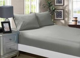 Cearceaf de pat cu elastic si 2 fete de perna, bumbac 100%, 180x200cm, Gri, Majoli by Bahar Tekstil