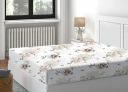 Cearceaf de pat cu elastic bumbac 100%,180x200cm, Floral Bej