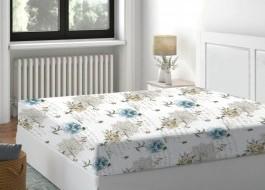 Cearceaf de pat cu elastic bumbac 100%,180x200cm, Floral Bleu