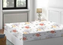 Cearceaf de pat cu elastic bumbac 100%,180x200cm, Floral Peach