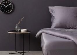 Cearceaf de pat satin cu elastic bumbac 100%, 160x200cm, gri inchis