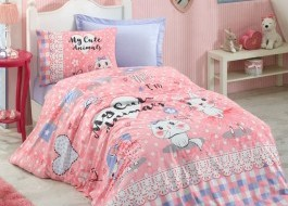 Cotton Box - Lenjerie pat 1 persoana bumbac 100 ranforce Animals - Pink