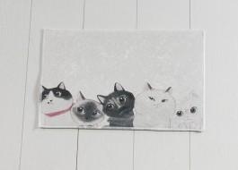 Covoras baie 40x60 cm, Alessia Home, Angry Cats DJT