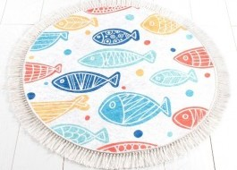 Covoras de baie, Alessia Home, Fish DJT - Colourful, 100 cm