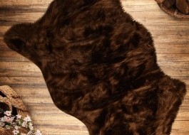 Covoras de baie imitatie blana 60x90cm, Pelus Brown