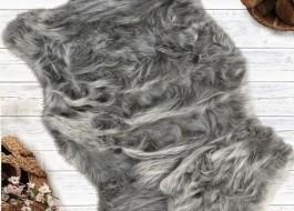 Covoras de baie imitatie blana 60x90cm, Pelus Grey