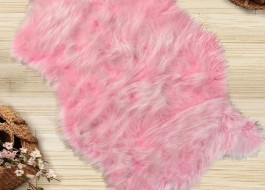 Covoras de baie imitatie blana 60x90cm, Pelus Pink