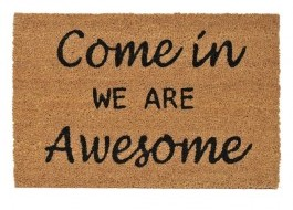 Covoras intrare din fibra de nuca de cocos, 40x60cm, Come in we are Awesome