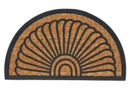Covoras intrare semicerc din fibra de nuca de cocos, 45x70 cm, Maro cu Linii