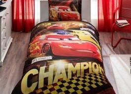 Cuvertura 1 persoana din bumbac 100%, Tac, Disney Cars Champions