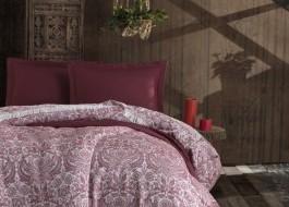 Cuvertura jacquard cu franjuri bumbac 100%, 240 x 260cm, Eponj Home, Nish - Claret Red - produs resigilat