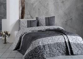 Cuvertura matlasata bumbac 100% 220x240cm + 2 fete perna, Bahar Home, Natura Grey