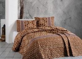 Cuvertura matlasata bumbac 100% 220x240cm + 2 fete perna, Bahar Home, Navys Brown