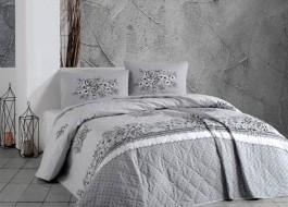 Cuvertura matlasata bumbac 100% 220x240cm + 2 fete perna, Bahar Home, Spring Grey