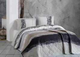 Cuvertura matlasata bumbac 100% 220x240cm + 2 fete perna, Bahar Home, Thickline Brown