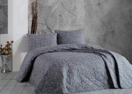Cuvertura matlasata bumbac 100% 220x240cm + 2 fete perna, Bahar Home, Titania Brown