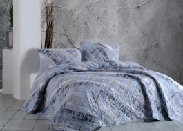 Cuvertura matlasata bumbac 100% 220x240cm + 2 fete perna, Bahar Home, Trinity