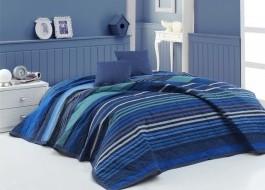 Cuvertura matlasata bumbac 100%, 220x240cm,  Bahar Home Marley Albastru