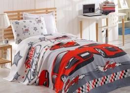 Cuvertura subtire bumbac 100%, 1 persoana, 160 x 235 cm, Eponj Home, Crazy - Red