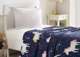 Cuvertura subtire bumbac 100%, 1 persoana, 160 x 235 cm, Eponj Home, Magic Unicorn