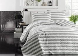 Cuvertura matlasata cu 2 fete perna pentru pat dublu, Eponj Home, Hook - Gri/Alb