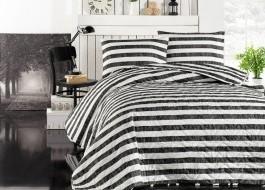 Cuvertura matlasata cu 2 fete perna pentru pat dublu, Eponj Home, Hook - Negru/Alb