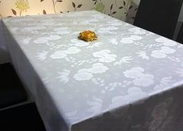 Fata de masa damasc floral satinat 140x140cm