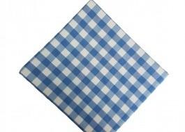 Fata de masa 140x140cm carouri albastru cu alb