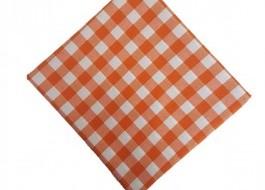 Fata de masa 140x140cm carouri portocaliu cu alb