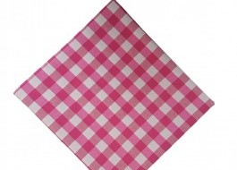 Fata de masa 140x140cm carouri roz cu alb