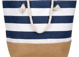 Geanta plaja cu dungi alb - albastru, Marin