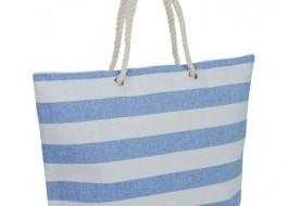 Geanta plaja cu dungi groase alb - bleu si manere tip sfoara