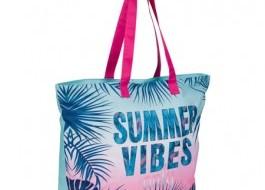 Geanta plaja cu fermoar si portfard la interior, Summer Vibes