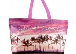 Geanta plaja cu fermoar si portfard la interior, Sunset Beach