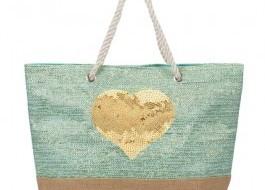 Geanta plaja cu manere tip sfoara, Golden Heart