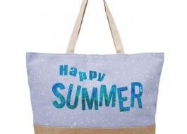 Geanta plaja cu manere tip sfoara, Summer Turquoise