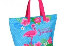 Geanta plaja cu fermoar si portfard la interior, Flamingo