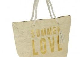 Geanta plaja Summer Love cu manere tip sfoara, Gold