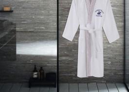 Halat de baie barbati bumbac, marime S/M, Beverly Hills Polo Club, Alb