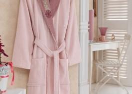 Halat de baie bumbac 100% ,Cotton Box, marime S/M , Roz , cod Pink Dusty Rose