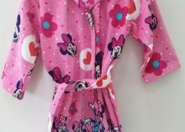 Halat de baie copii bumbac cu gluga, Minnie Mouse, 6-8 ani