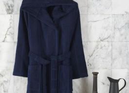 Halat de baie cu gluga, bumbac 100%,Class Home Collection, marime L/XL Linea Albastru