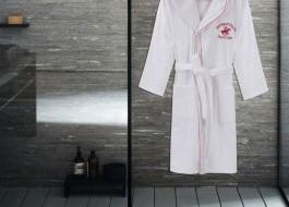 Halat de baie femei cu gluga bumbac 100%, marime M/L, Beverly Hills Polo Club, Alb