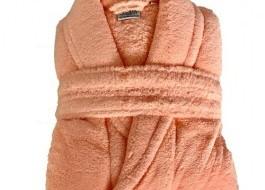 Halat de baie pufos tip cocolino, marime L, portocaliu